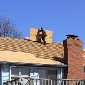Worker on a roof